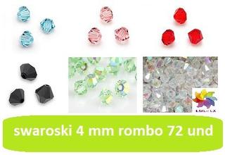 Swarovski Rombo 4mm Tornasol O Cristal De Roca Checo 72und