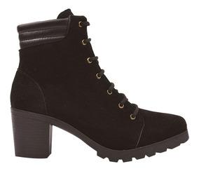 Bota Coturno Sapato Feminino Cano Curto Salto Tratorado N1