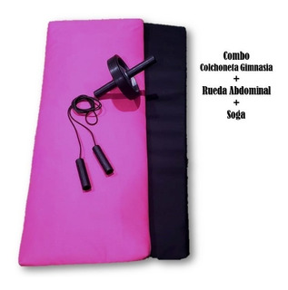 Combo Colchoneta Gimnasia + Rueda Abdominal Soga De Saltar