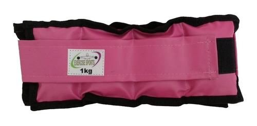 Imagem 1 de 1 de Tornozeleira / Caneleira De Peso Rosa 1 Kg  Par.