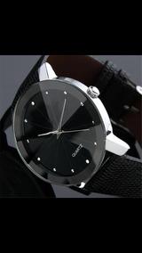 Relógio De Luxo Elegance Militar Couro E Aço Elegan