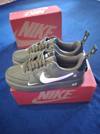 Tênis Nike Air Force 1 Verde Militar +camisa D Brinde