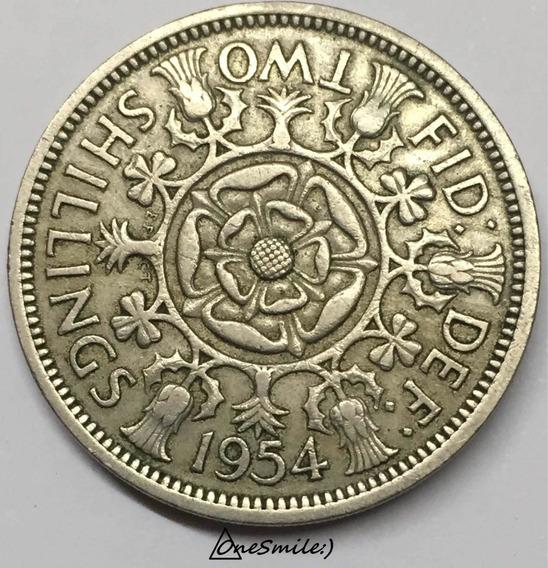 Onesmile:) Moneda Gran Bretaña Two Shillings 1954 ( Florin )