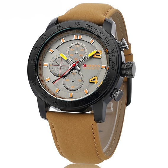 Relógio Curren Original 8190 Luxo Cinza Masculino Esportivo