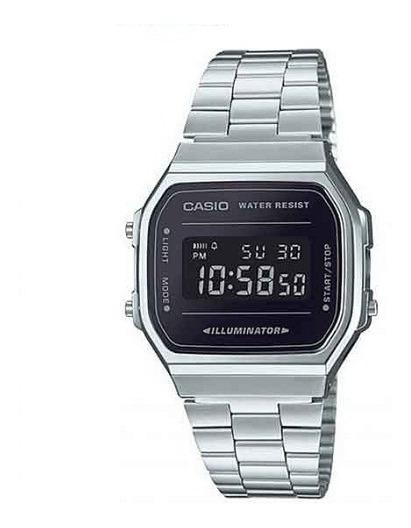 Relógio Casio Vintage Unissex Prata Digital A168wem-1df