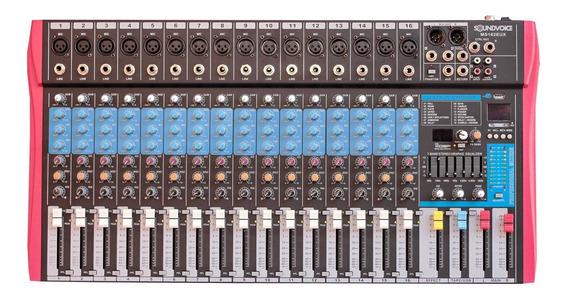 Mesa De Som 16 Canais Xlr Usb Efeitos Soundvoice Ms162eux