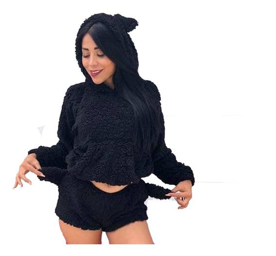 Pijama De Gato Short + Sueter Estampado De Meow Unitalla