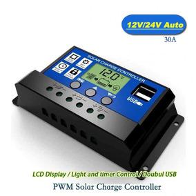 Controlador De Carga Solar 30a Lcd Usb Regulador Auto - 2un