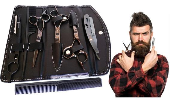 Kit Black 3 Tesouras Profissionais Fio Navalha 2 Navalhas Br
