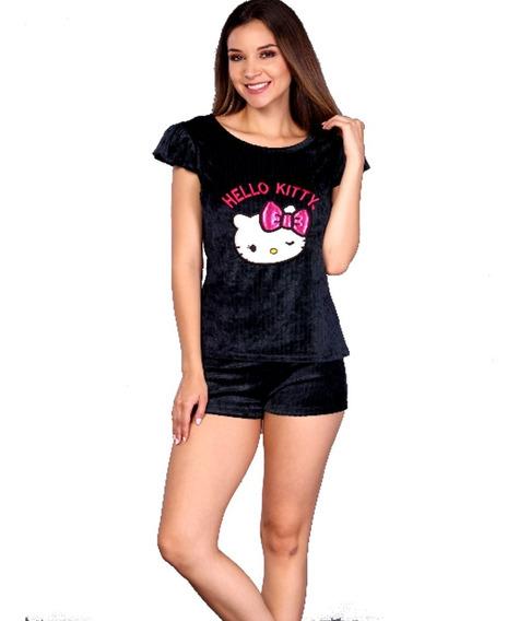 Pijama Para Mujer Hello Kitty Sanrio Blusa Short Terciopelo