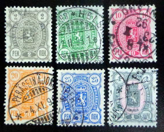 Finlandia, Serie Yv. 28-33 Dentada Año 1889 Usada L9011