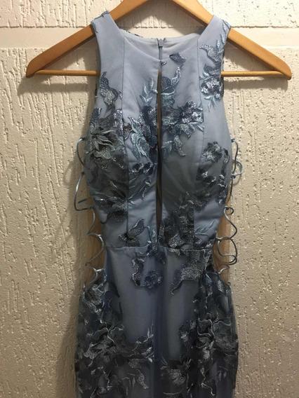 Vestido De Festa Longo Azul Envelhecido, Novo!