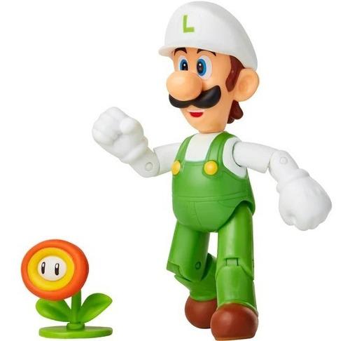 Imagen 1 de 2 de Figura Luigi De Fuego Con Flor De Fuego - Super Mario - 10cm