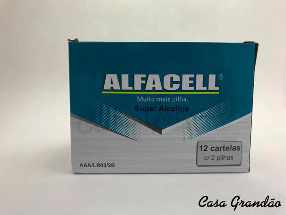 Caixa Com 24 Pilhas Super Alcalinas Aaa Alfacel