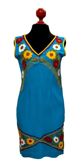 Adarid Estrada Vestido Artesanal De Flores Amarillas Azul