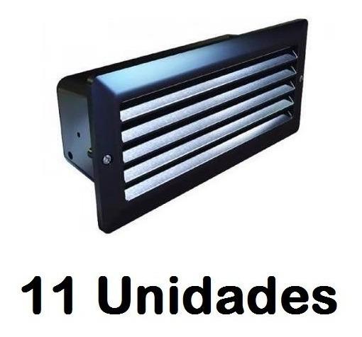 Kit 11 Un. Luminaria Embutir Aluminio Injetado 6300 - Preto