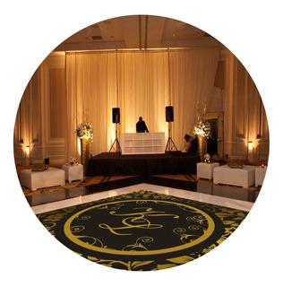 Pista De Dança Para Casamento Preto Com Dourado Ps12 - 4x4m