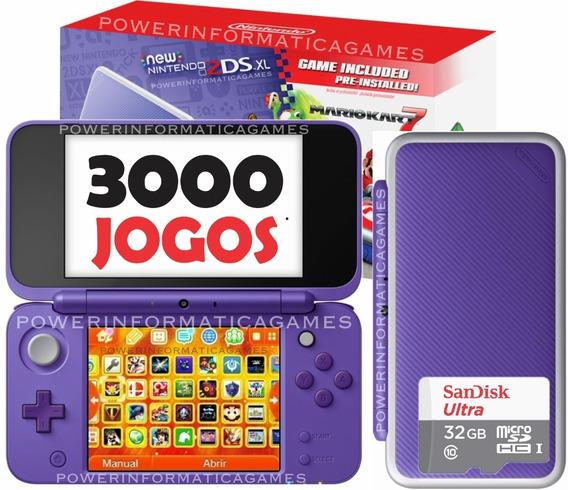 Nintendo New 2ds Xl + 3000 Jogos + 32gb + Roda 3ds + Fonte
