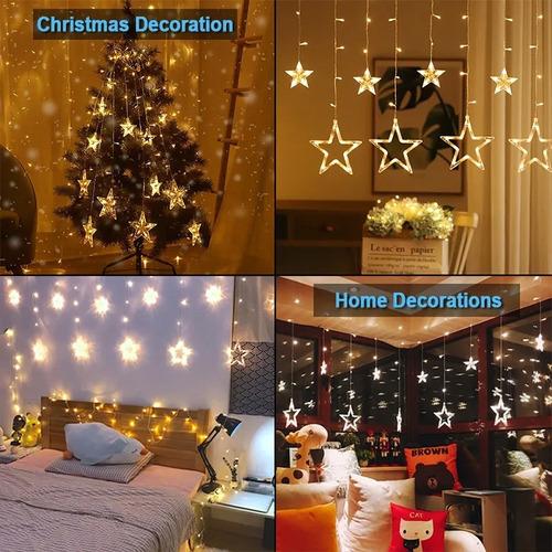 Serie Luces Cortina De Estrellas Cálido Decoración Fiestas