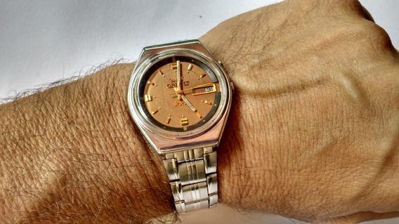 Relógio Orient Automático Marrom Cobre Ótima Conservação