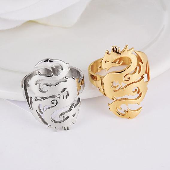 Anel Designer De Dragão Preto, Prata Ou Dourado