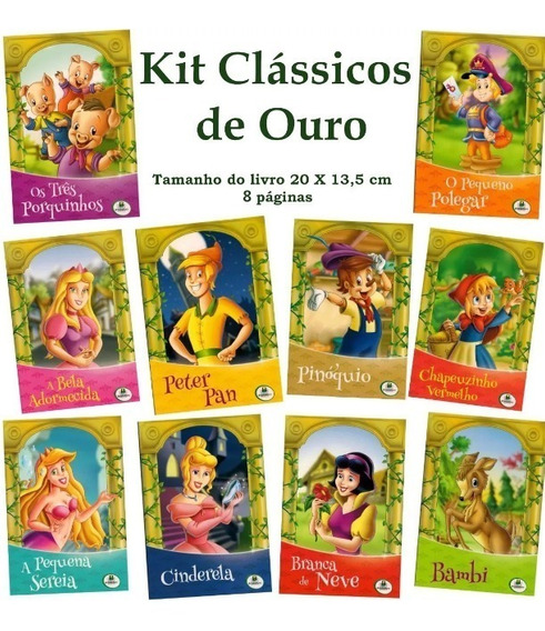 Kit Livro Infantil - Clássicos De Ouro - 10 Und