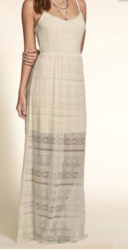 Vestido De Renda Longo Com Detalhe Hollister Original