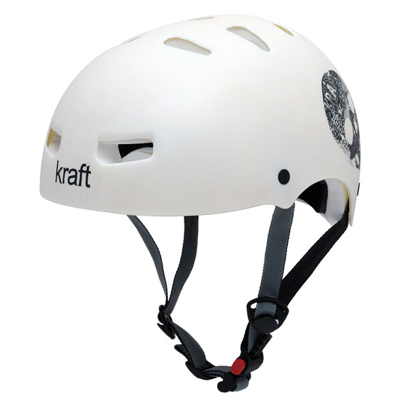 Capacete Kraft Bike Caveira Branco M Skate Patins - Nbr16175