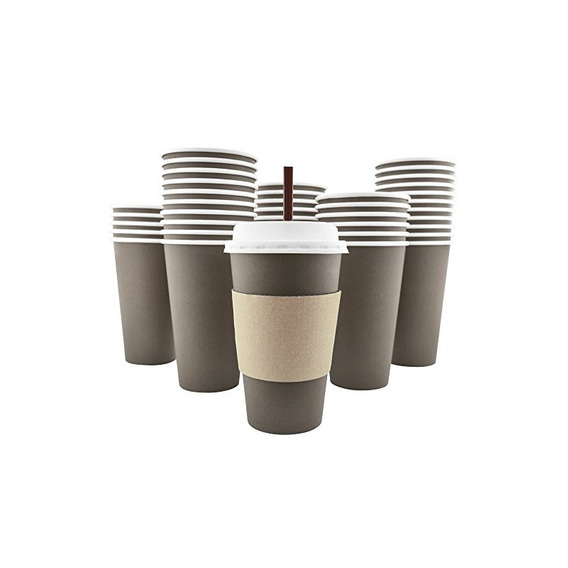 100 Pack - 20 Oz [8, 12, 16] Disposable Hot Paper Coffee Cup