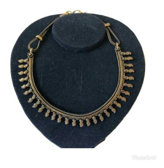 Colar Gargantilha Indianoa Dourado Bronze Boho