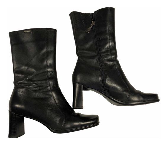 Botas Lady Stork Cuero Negro Nro 36 Zapatos Media Caña
