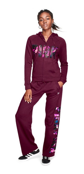Victorias Secret Pink Pantalon Boyfriend Bordo
