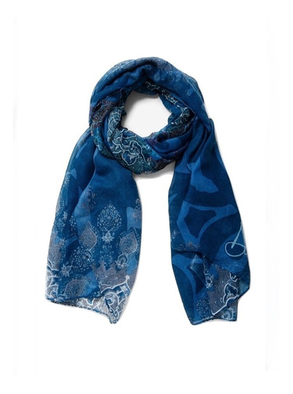 Pashmina Desigual Azul Mujer Mantras, Bufanda , Pareo