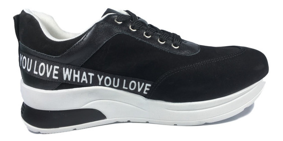 Tênis Sneaker Feminino Couro Nobuck Preto Solado Alto Macio