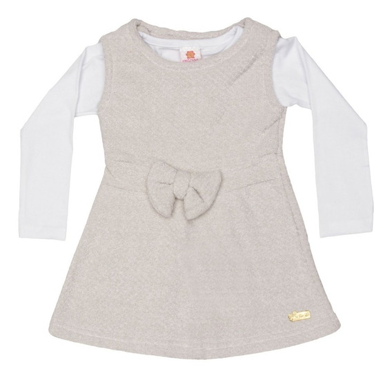 Conjunto De Blusa + Vestido. Bege & Branco Infantil
