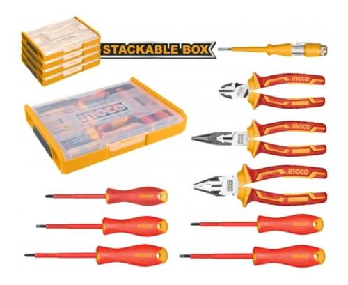 Set Organizador + 9 Herramientas Aisladas P Electricista Ing