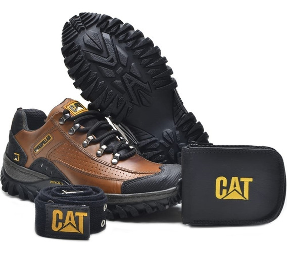 Kit Sapatenis Tênis Caterpillar Em Couro + Carteira + Cinto