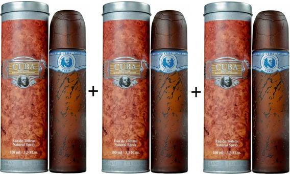 3 Perfumes Cuba Blue 100 Ml - Lacrado - Selo Autenticidade Adipec