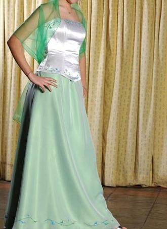 Vestido 15 Años Verde Y Blanco - Pollera Y Corset