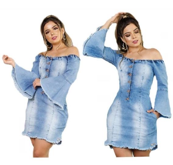 Vestido Jeans Flare Feminino Com Lycra Ombro A Ombro Vjf01
