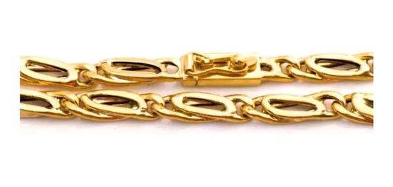 Pulseira Masculina Ouro 18k Elo Forma De Oito 10g Oca 0009
