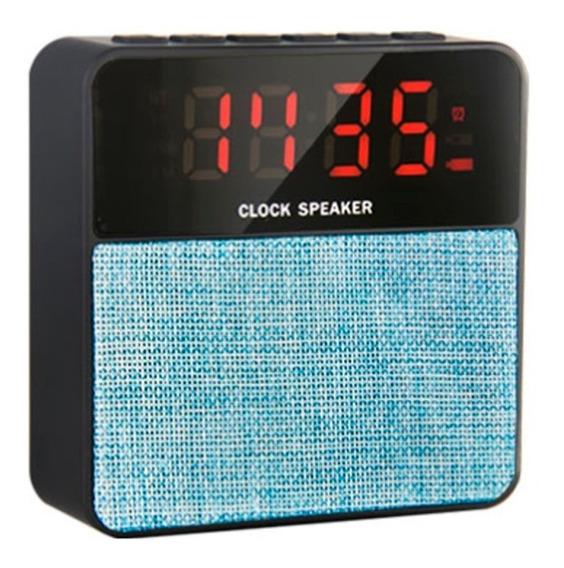 Radio Relógio Mp3 Player Despertador Fm Usb Microusb Azul