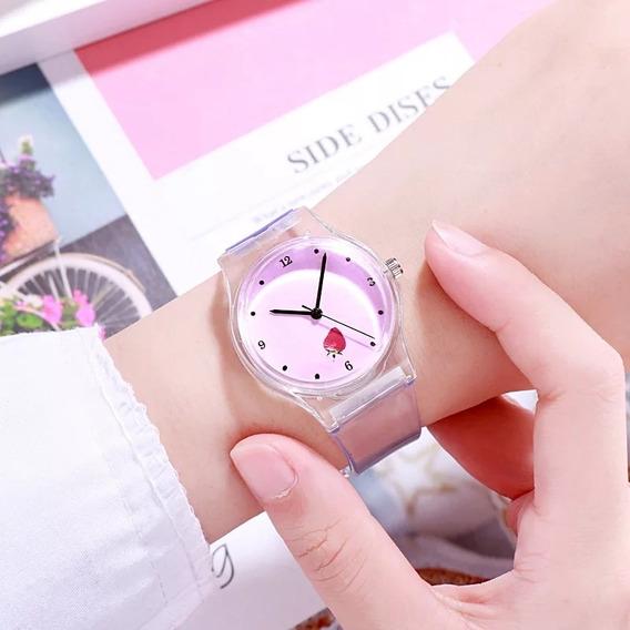 Relógio Transparente Feminino Menina Barato Rosa Pop
