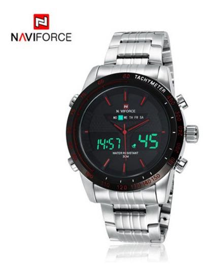 Relógio Pulso Masculino Naviforce Inox Vermelho 446