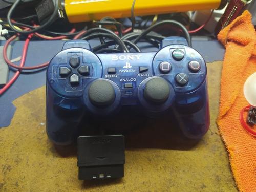 Control Ps2 Playstation 2 Azul Transparente Original
