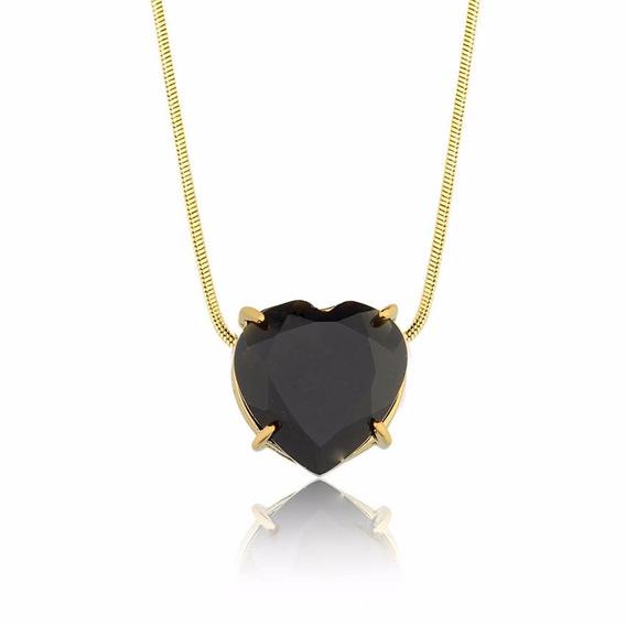Colar Semijoia Fina Coração Pedra Natural Quartzo Negro
