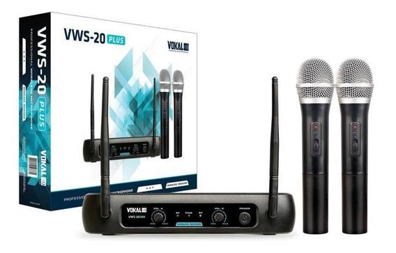 Microfone De Mão Sem Fio Duplo Vokal - Vws20 Plus