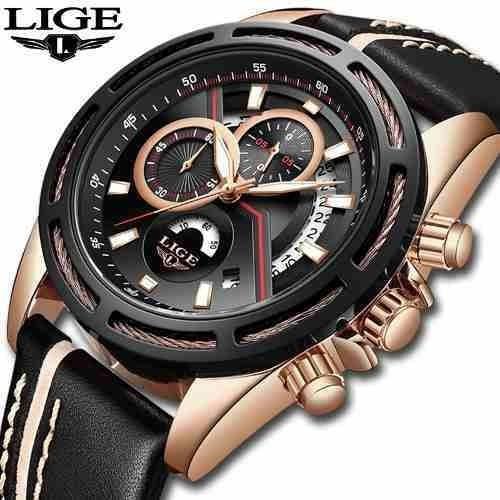 Relógio Masculino Lige 9880 Top Marca Luxo À Prova D