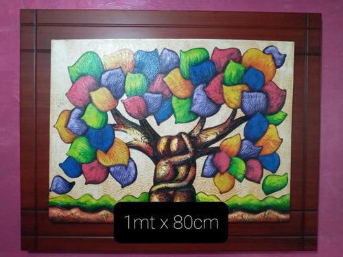 Imagen 1 de 6 de Cuadro Árbol De La Vida Abstracto Con Relieve 1mt X 80cm