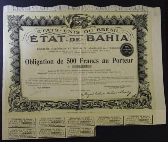 Apólice Etat De Bahia - 1910